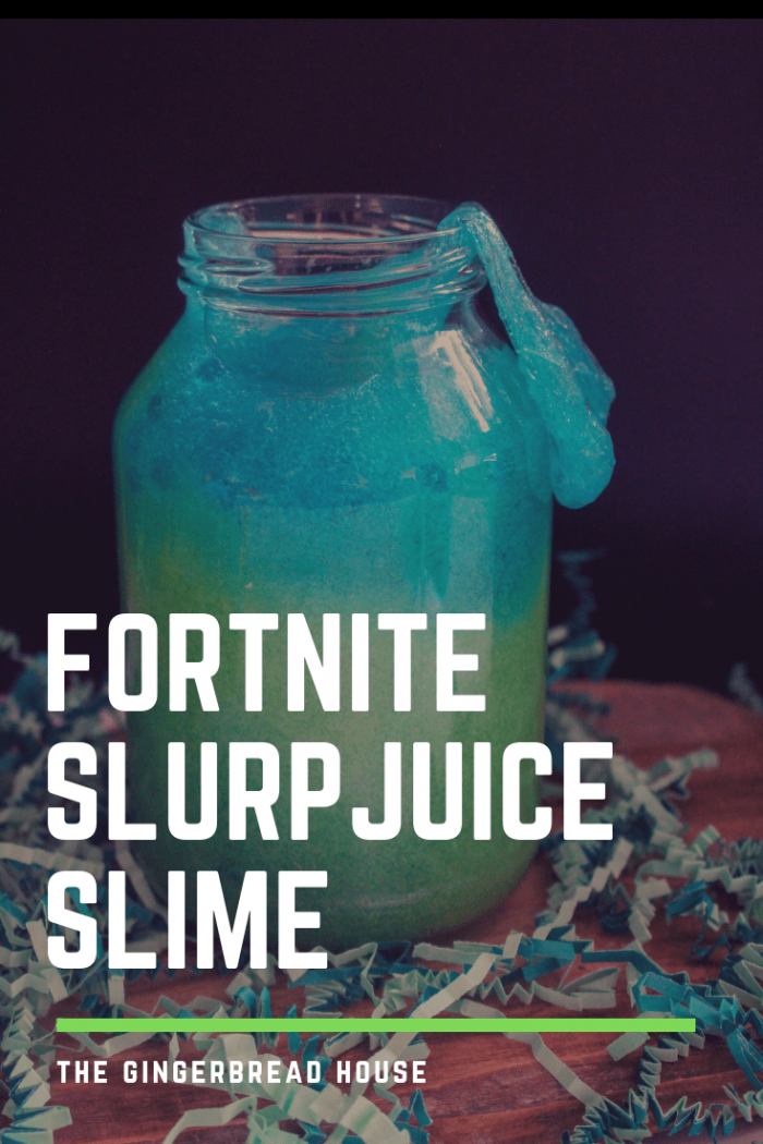 Fluorescent glittery blue and green Fortnite slurp juice slime.