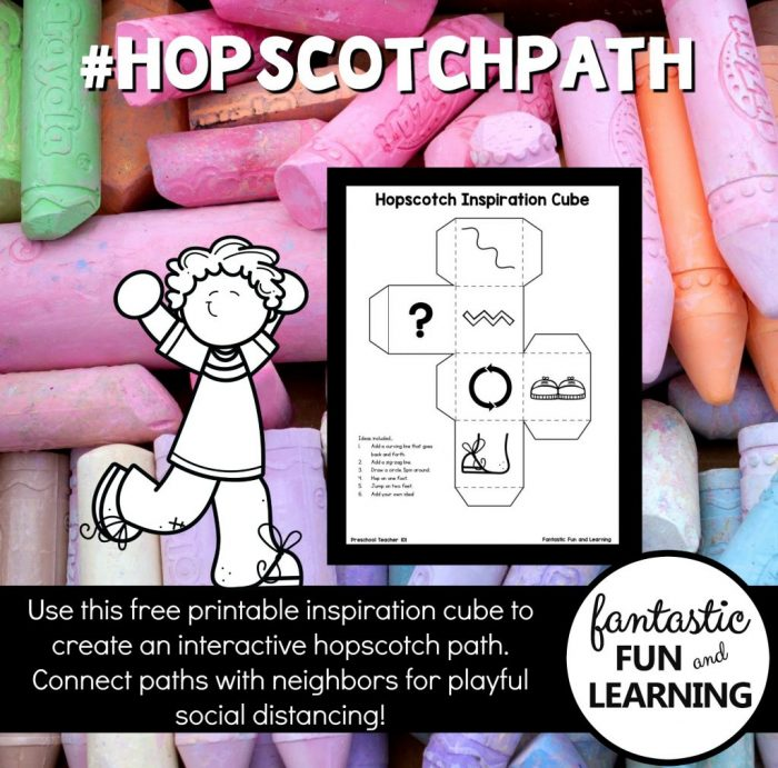Printable inspiration cube to play hopscotch with sidewalk chalk.