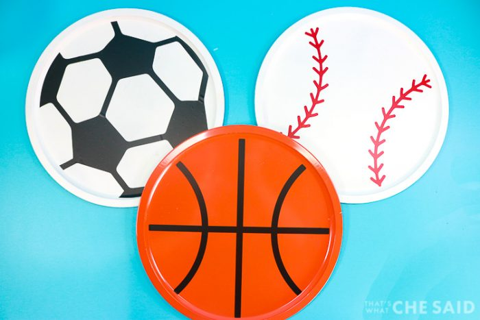 Pizza Pans turned into Sports Balls Magnet boards