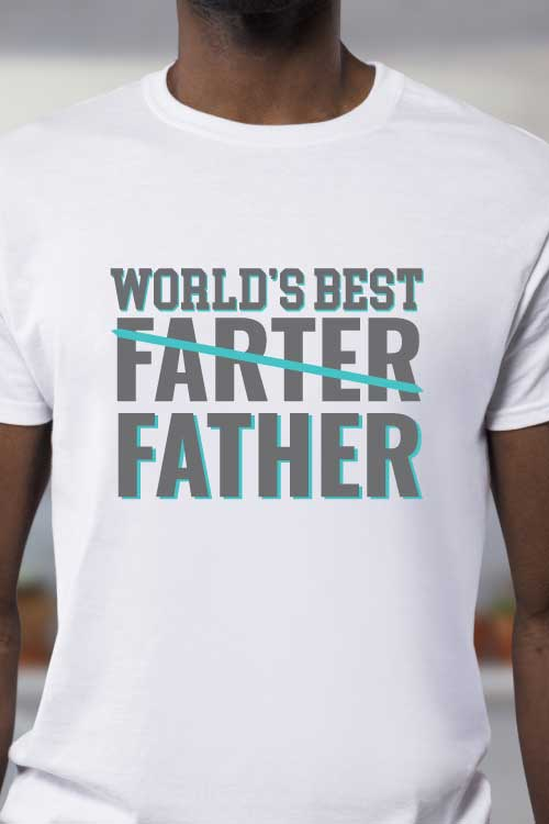 "Man wearing white t-shirt with iron on in the quote ""World's Best Farter (crossed out) Father"" - vertical orientation"