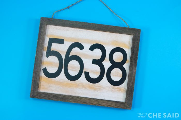 DIY House Sign after numbers were glued on