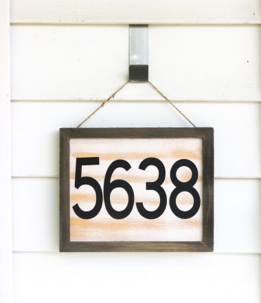 DIY House number sign hanging next to front door - vertical layout