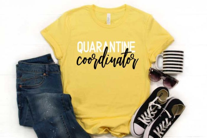 "Yellow shirt with ""Quarantine Coordinator"" in iron on with jeans, converse coffee mug and sunnies"