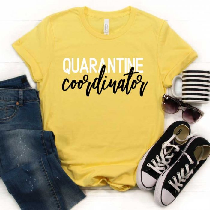 "Yellow shirt with ""Quarantine Coordinator"" in iron on with jeans, converse coffee mug and sun glasses - Square"