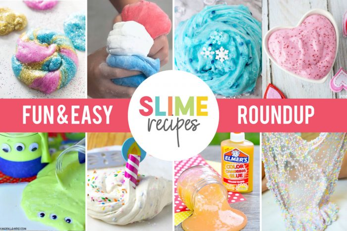 8 picture collage of some of the slime recipes included in the roundup post.