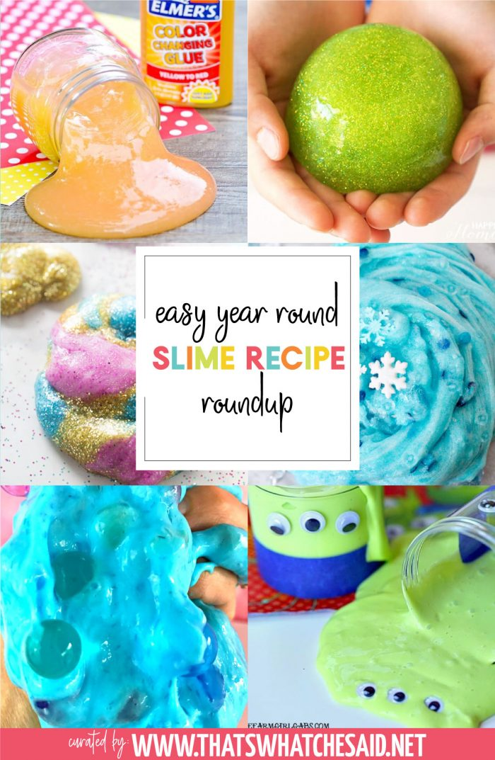 Vertical Collage of 6 different slime recipes included in the roundup post