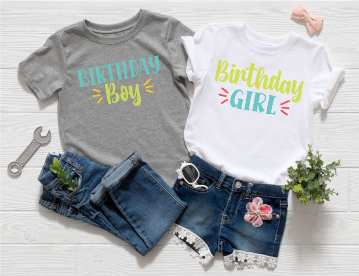 Two outfits, one girl and one boy with the Birthday Girl and Birthday Boy SVG files in iron-on in horizontal format