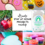 Collage of stay at home activities, recipes and more in vertical format