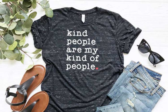 Black Grey Heather Shirt with Kind People are My Kind of People SVG on it with iron on - Horizontal