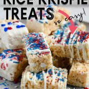 Krispies stacked on a plate with graphic wording for a Pinterest Pin