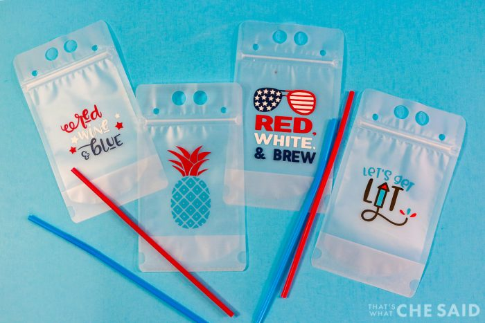 Adult Drink Pouches Personalized for the 4th of July with adhesive vinyl - Blue Background