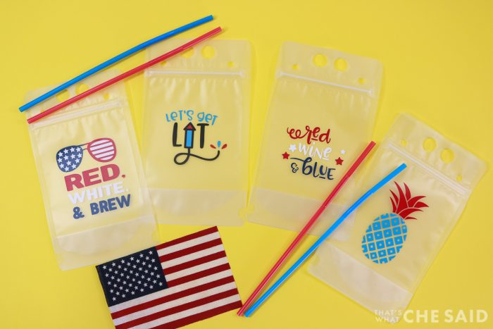 Adult Drink Pouches Personalized for the 4th of July with adhesive vinyl - Yellow Background