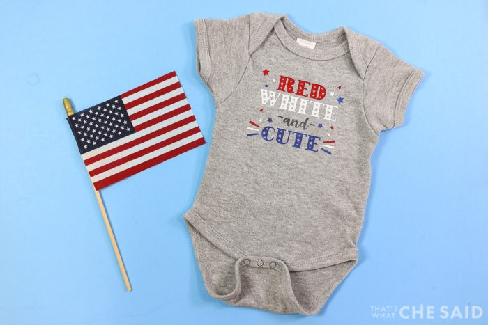 Grey Baby bodysuit with Small American Flag with Patriotic Red white and cute design with iron on - Horizontal
