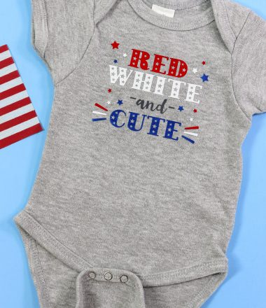 Grey Baby bodysuit with Small American Flag with Patriotic Red white and cute design with iron on - Vertical