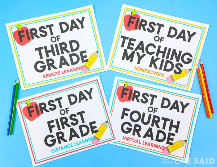 First Day of School Printables with Alternate Learning options on blue background