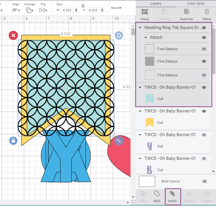 Screenshot of Cricut Design Space highlighting which layers to select and attach for debossing tool