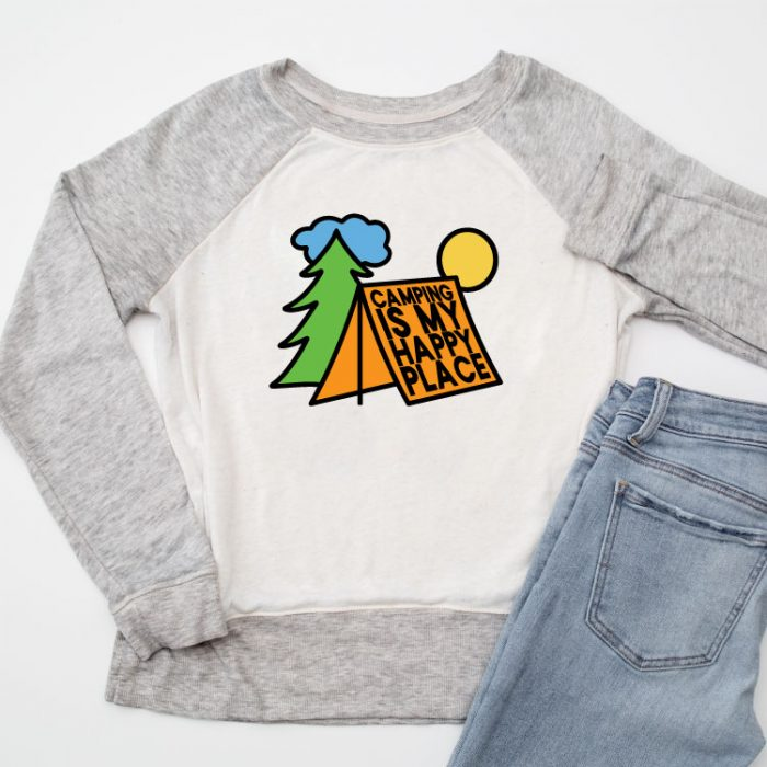 Raglan sweatshirt with camping svg in iron on.