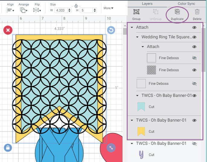 Screenshot of Cricut Design Space highlighting which layers to select and duplicate for banner