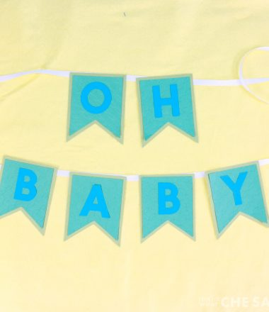 """Oh Baby"" pennant baby shower banner"