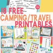 Pin image showing road trip mad lib printable on top and a collage of the 18 free printables on the bottom