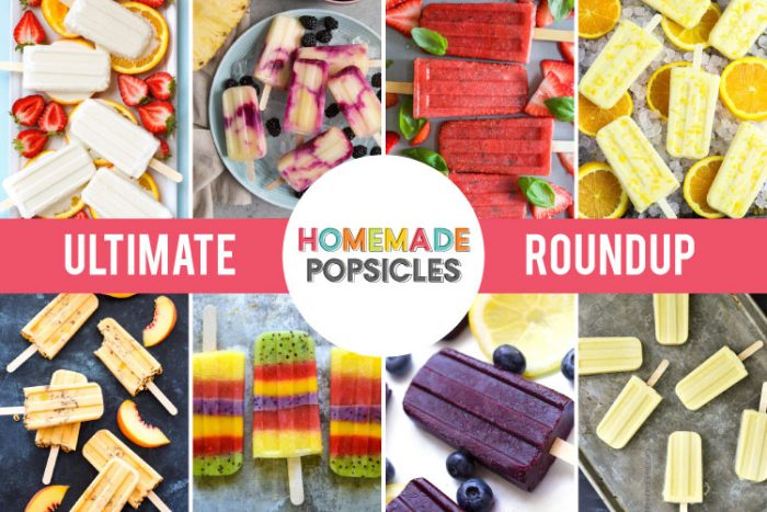 Collage of 8 different homemade popsicle recipes that are listed in this post.
