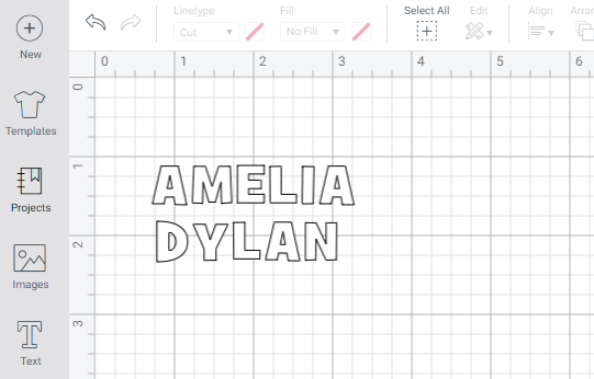 Cricut Design Space with Names in Text