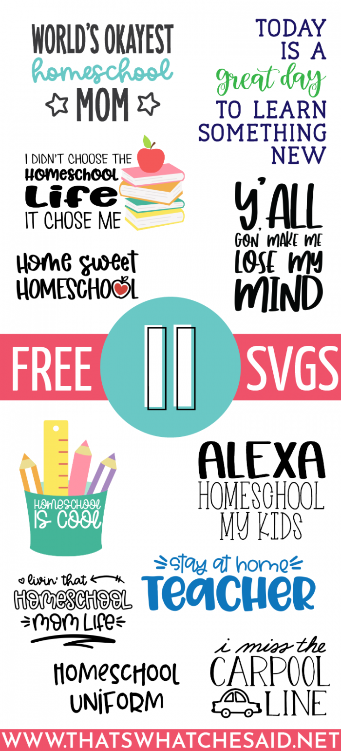 World's Okayest Homeschool Mom SVG files plus 10 other designs in a collage as part of a monthly blog hop