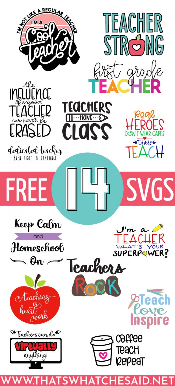 Collage of FREE Teacher SVG files