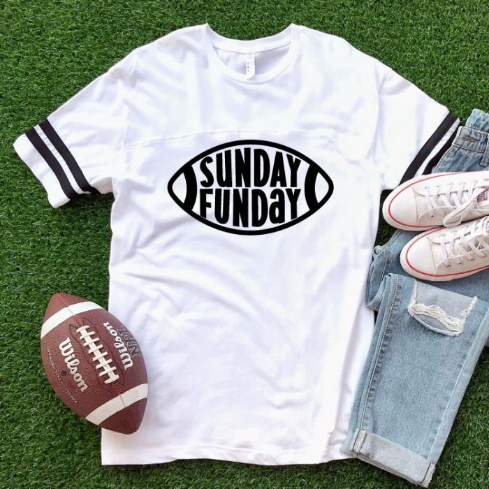 AstroTurf background with white shirt and Sunday Funday Free football SVG with football and jeans - square format
