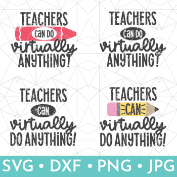 Shop graphic of 4 teacher saying svg files