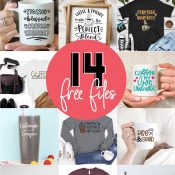 Collage of 14 Free Coffee Projects with Free Coffee SVG Files