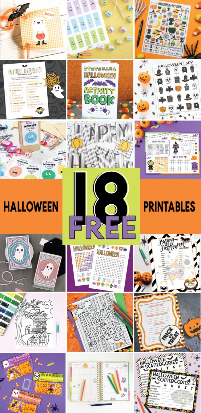 Collage of 18 Free Halloween Printables offered through the Totally Free Printable Blog Hop