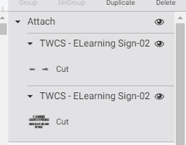 Cricut Design Space Layers Panel highlighting that the layers were ungrouped and attached