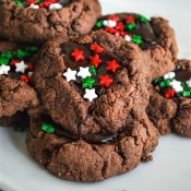 Chocolate Thumbprint cookies with Christmas Sprinkles