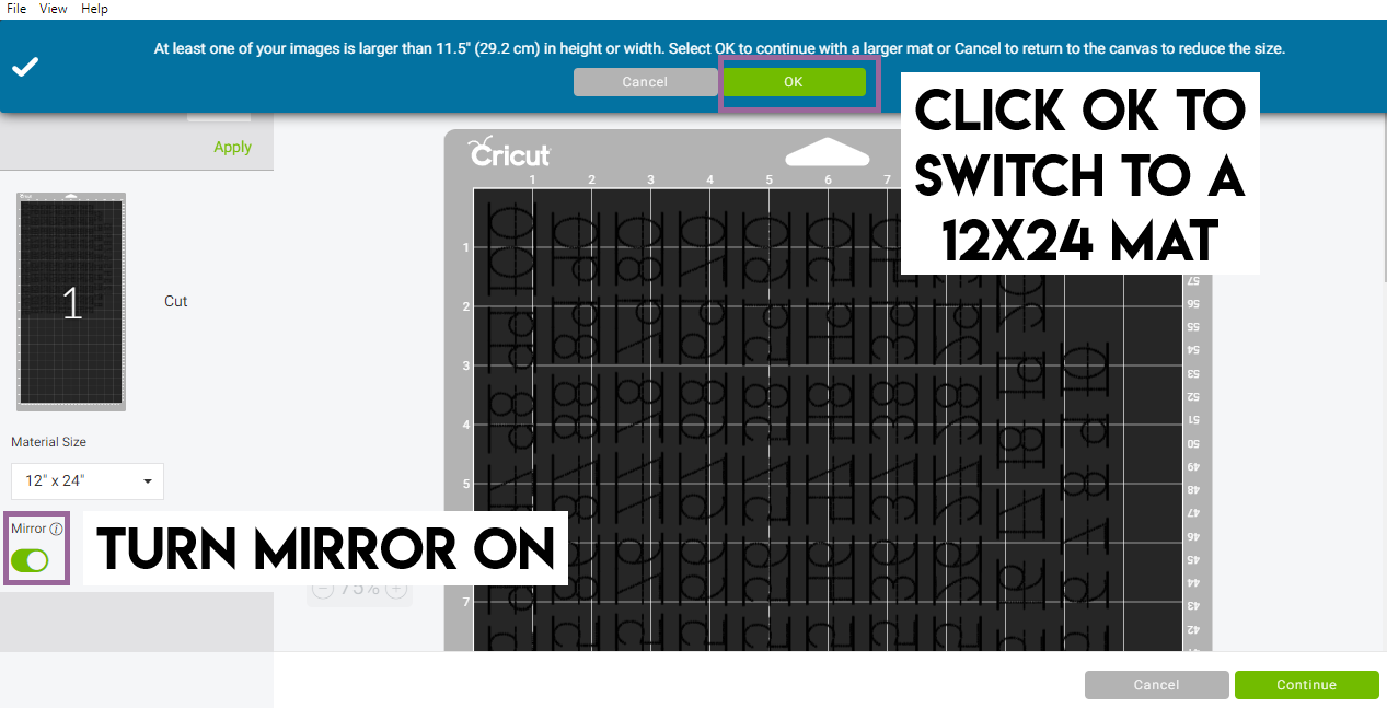 Cricut Design Space Screenshot showing to use large mat and turn mirror on