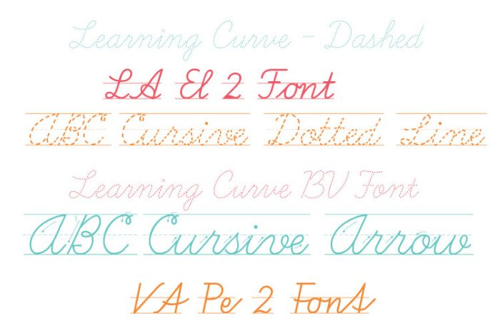 Cursive Font Names in Branded Colors