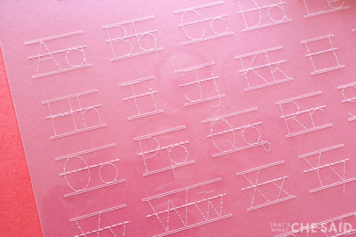 Close up of Alphabet Tracing mat after it has been cut