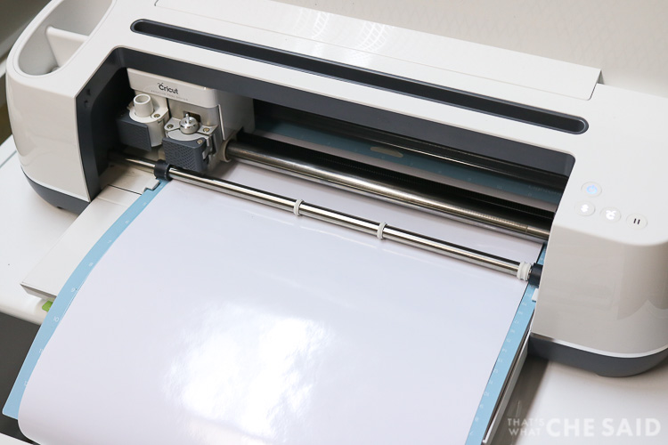 Cricut Maker cutting White Adhesive Vinyl