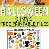 printed halloween i-spy on top and image of digital version of printable on the bottom - pinterest pin