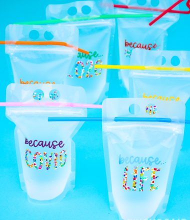 6 reusable drink pouches with pandemic related designs in colorful adhesive vinyl - Vertical