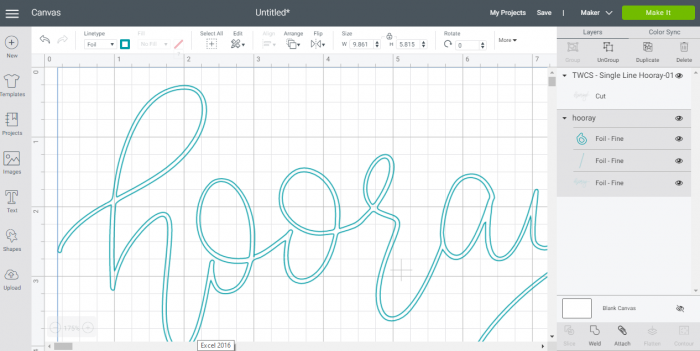 Cricut Design Space Screenshot showing a regular outlined SVG file