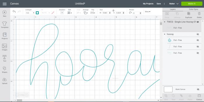 Cricut Design Space Screenshot shoing a single line svg file