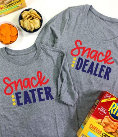 2 Grey shirts, adult shirt has Snack Dealer adn child shirt has snack eater in iron on vinyl