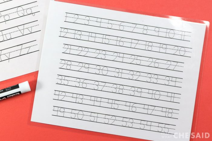 Number and Letter Tracing Sheets made from Free Tracing Fonts and laminated to use with a dry erase marker