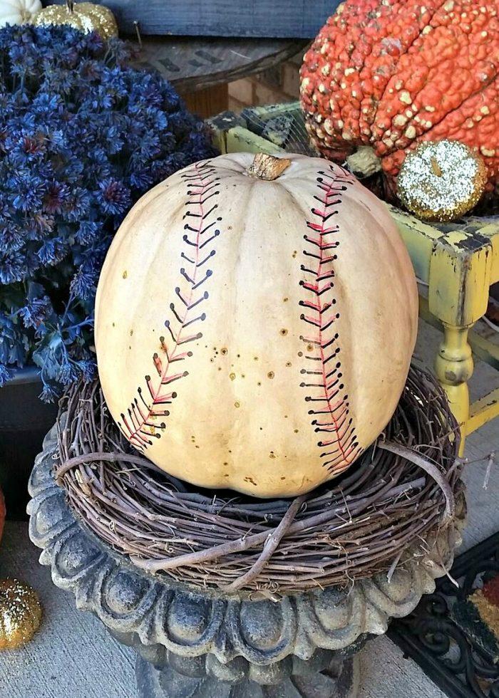 Pumpkin made to look like a baseball