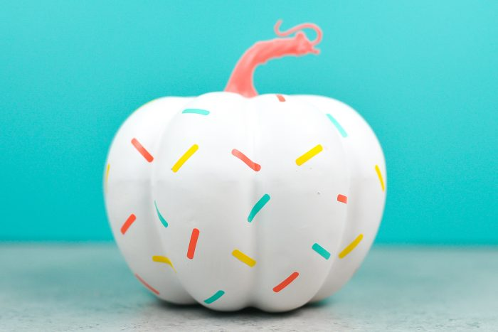 Pumpmkin painted white with adhesive sprinkles