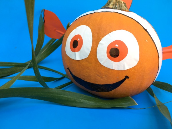 Pumpkin decorated like finding nemo