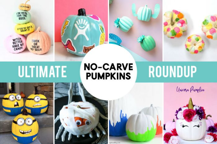 Collage of No Carve Pumpkin Projects - Vertical