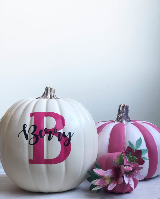 White Pumpkin with Pink B and last name in black vinyl.