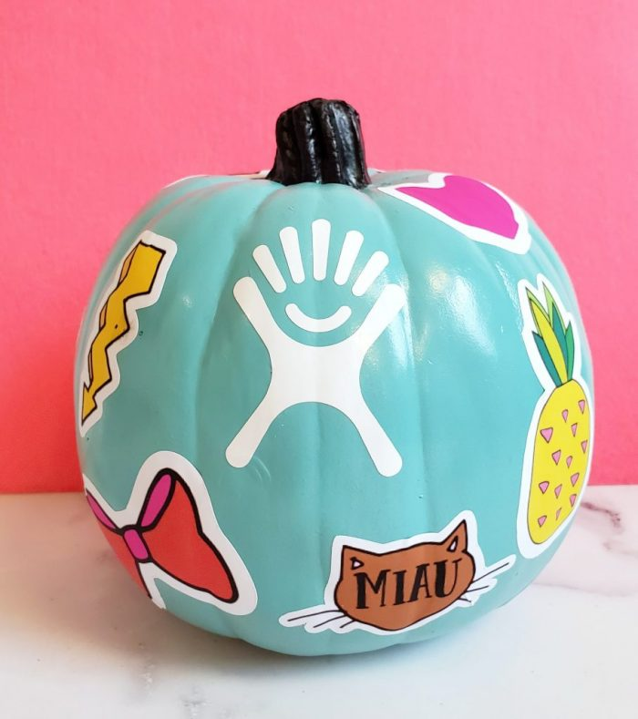 VSCO Girl pumpkin: Aqua painted pumpkin with vsco stickers